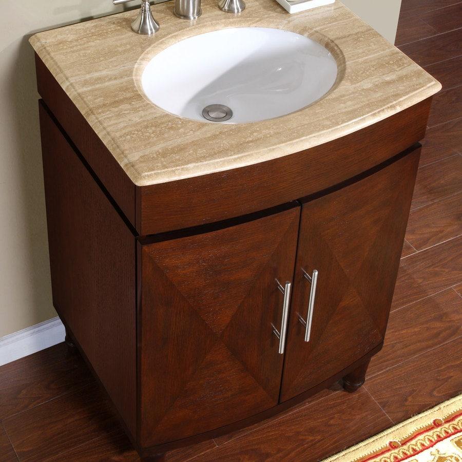 Silkroad Exclusive 26 In Dark Chestnut Single Sink Bathroom Vanity With Travertine Top In The Bathroom Vanities With Tops Department At Lowes Com