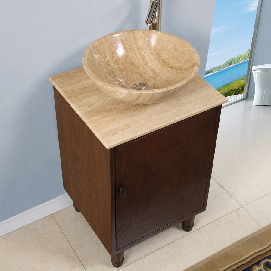 Silkroad Exclusive 20 In English Chestnut Single Sink Bathroom