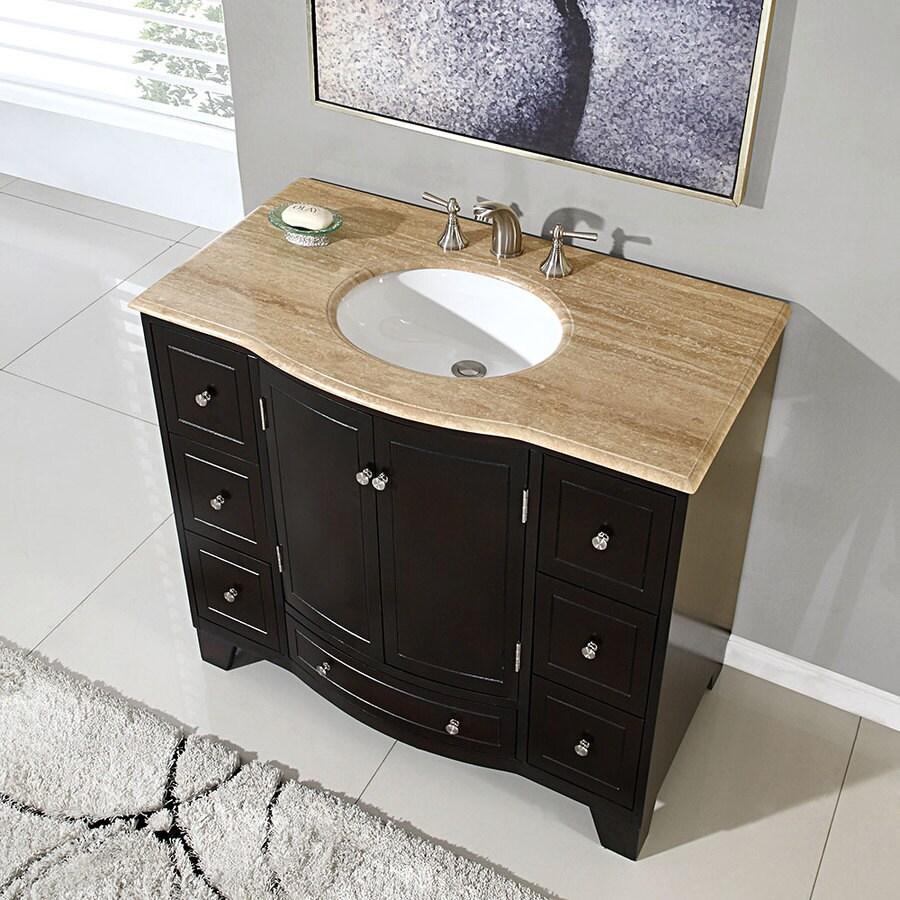 Silkroad Exclusive 40 In Dark Espresso Undermount Single Sink Bathroom Vanity With Travertine Top In The Bathroom Vanities With Tops Department At Lowes Com