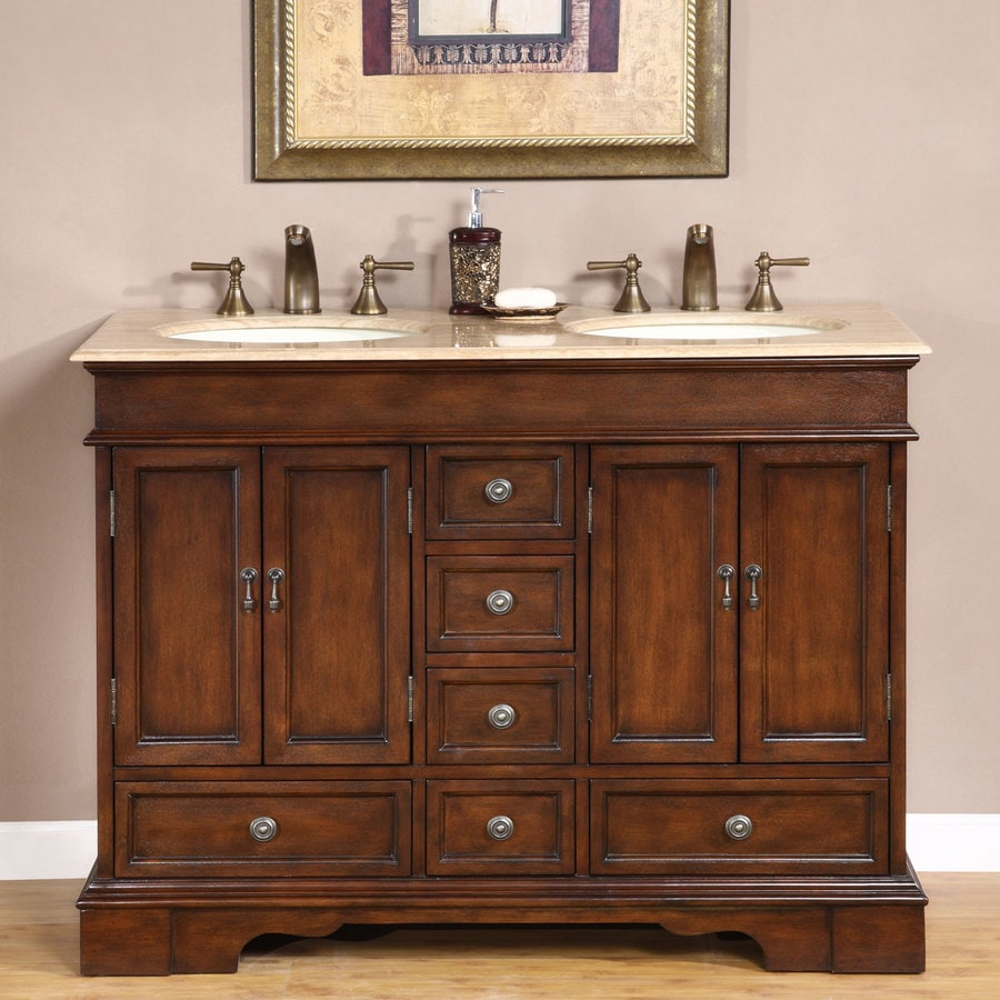 Silkroad Exclusive 48 In Red Chestnut Double Sink Bathroom Vanity With Travertine Top In The Bathroom Vanities With Tops Department At Lowes Com