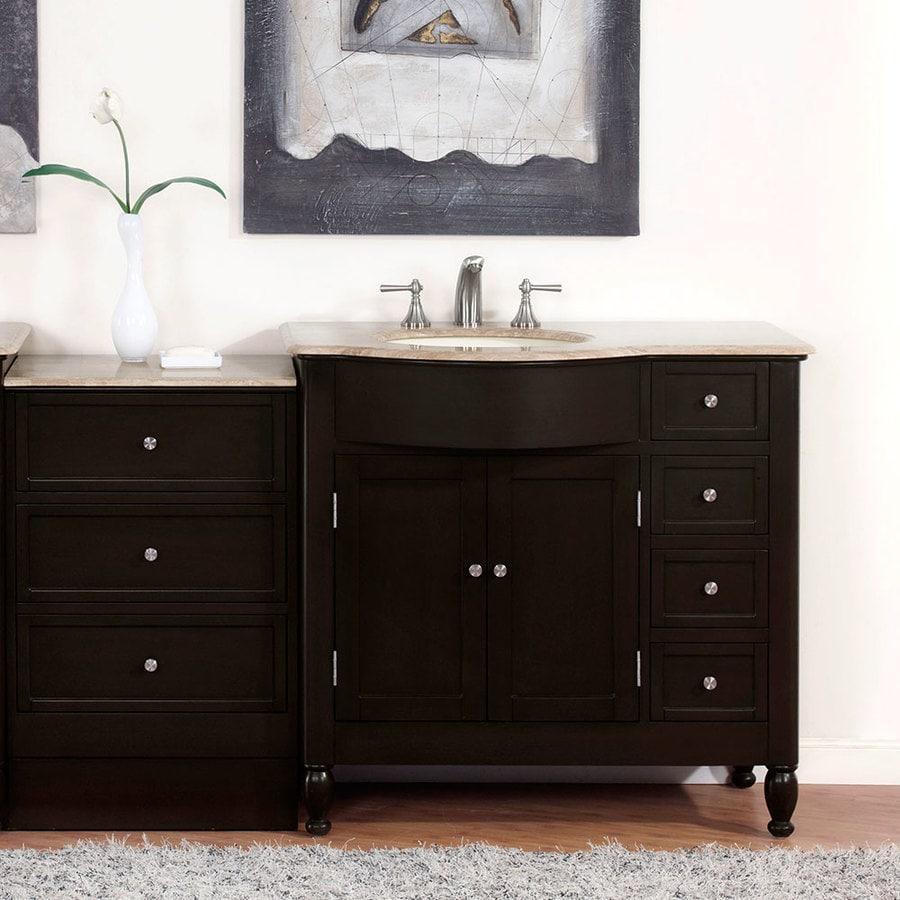 58 Bathroom Vanity Single Sink: Silkroad Exclusive 58-in Dark Walnut Single Sink Bathroom