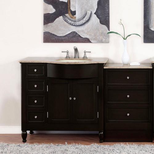 Silkroad Exclusive 58-in Dark Walnut Single Sink Bathroom ...