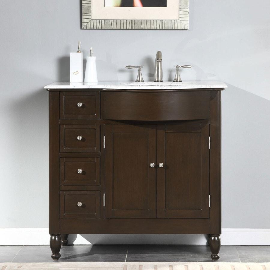 Silkroad Exclusive 38-in Dark Walnut Single Sink Bathroom ...