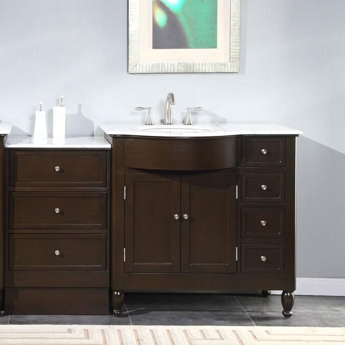 Silkroad Exclusive 58 In Dark Walnut Undermount Single Sink Bathroom Vanity With Carrara White Natural Marble Top In The Bathroom Vanities With Tops Department At Lowes Com