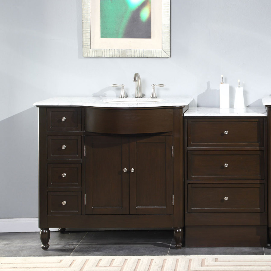 Silkroad Exclusive 58 In Dark Walnut Undermount Single Sink Bathroom Vanity With Carrara White Natural Marble Top In The Bathroom Vanities With Tops Department At Lowes Com