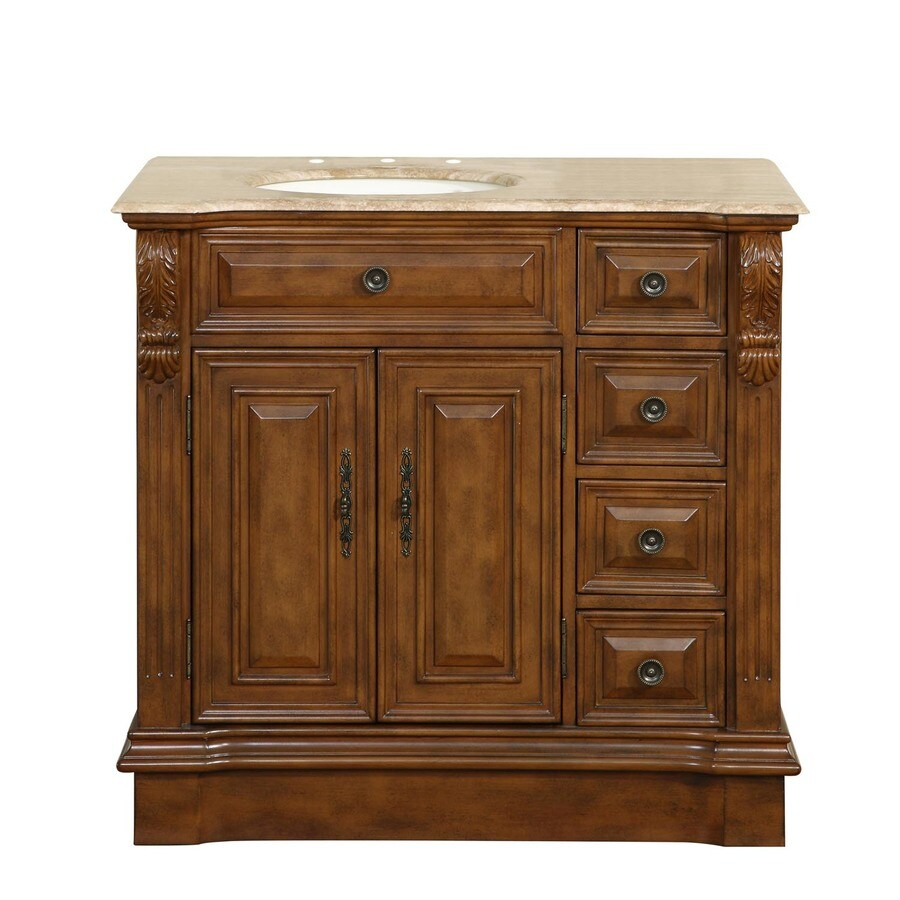 Silkroad Exclusive 38 In Walnut Single Sink Bathroom Vanity With Travertine Top