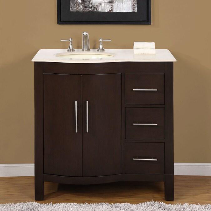 Silkroad Exclusive 36-in Dark Walnut Single Sink Bathroom ...