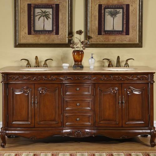 Silkroad Exclusive 72-in English Chestnut Double Sink ...