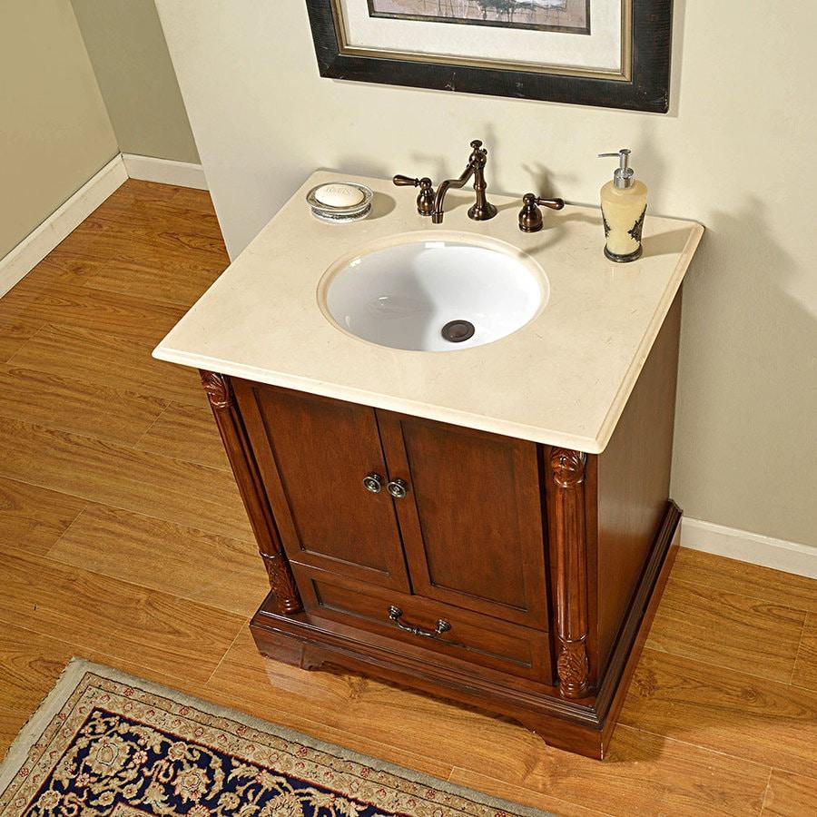 Silkroad Exclusive 32 In Walnut Single Sink Bathroom Vanity With