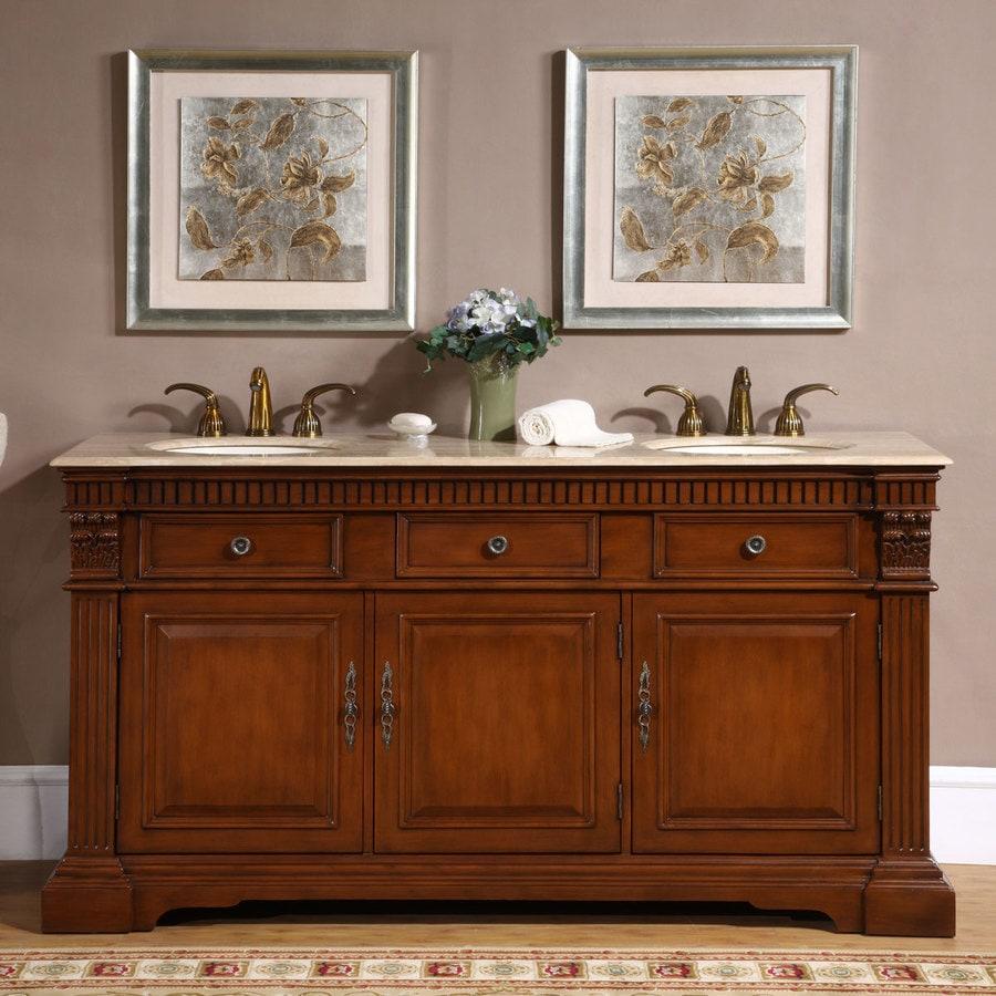 Silkroad Exclusive 67 In Cherry Undermount Double Sink Bathroom Vanity With Travertine Top In The Bathroom Vanities With Tops Department At Lowes Com