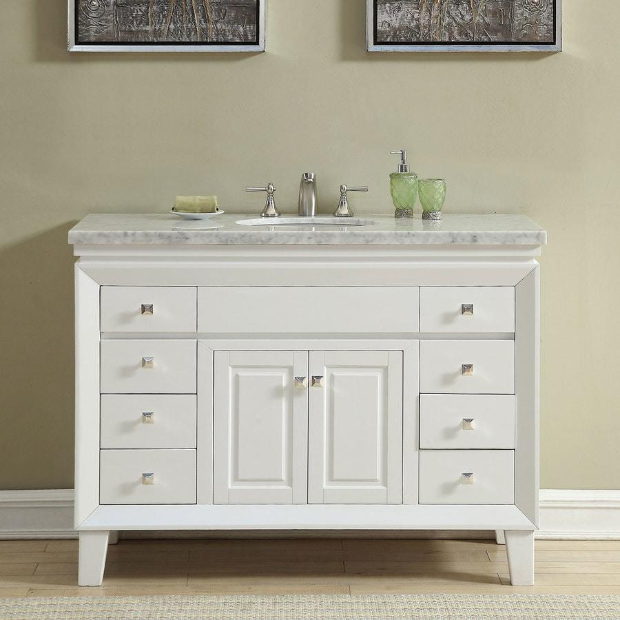 Silkroad Exclusive 48-in White Single Sink Bathroom Vanity ...