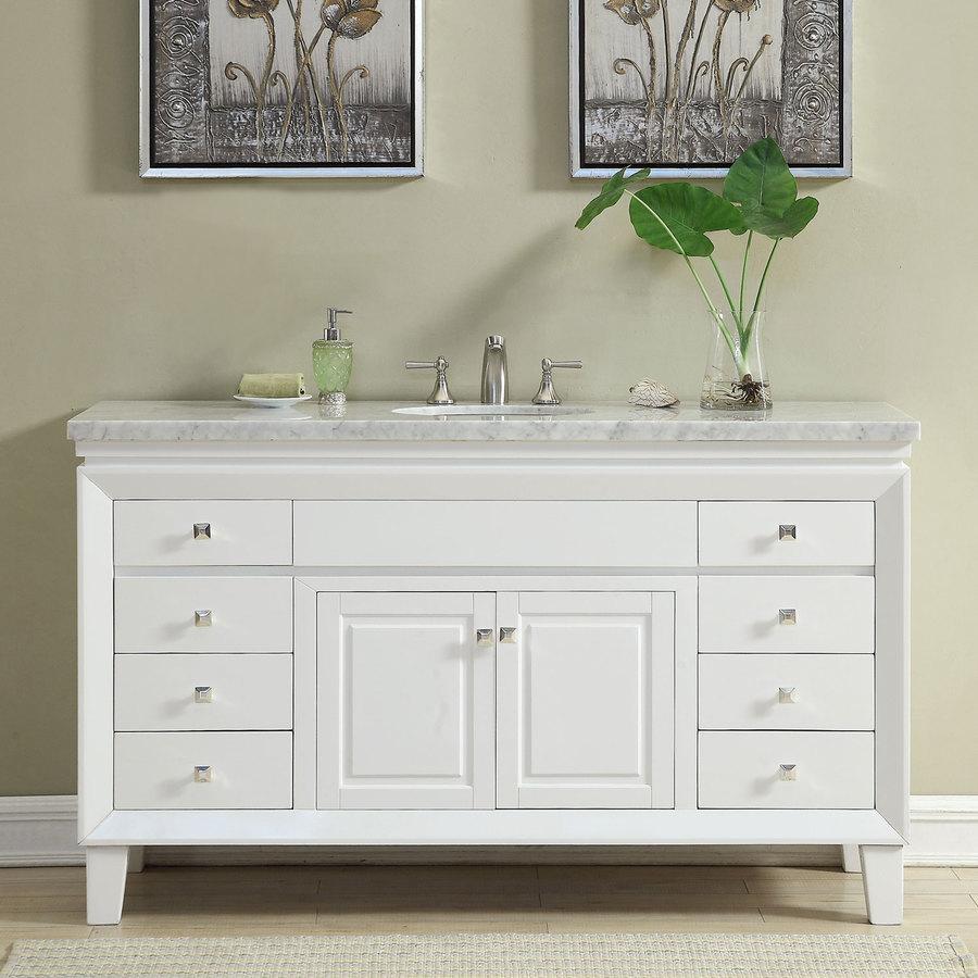 Silkroad Exclusive 60-in White Single Sink Bathroom Vanity ...
