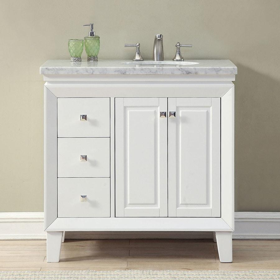 Silkroad Exclusive 36-in White Single Sink Bathroom Vanity ...