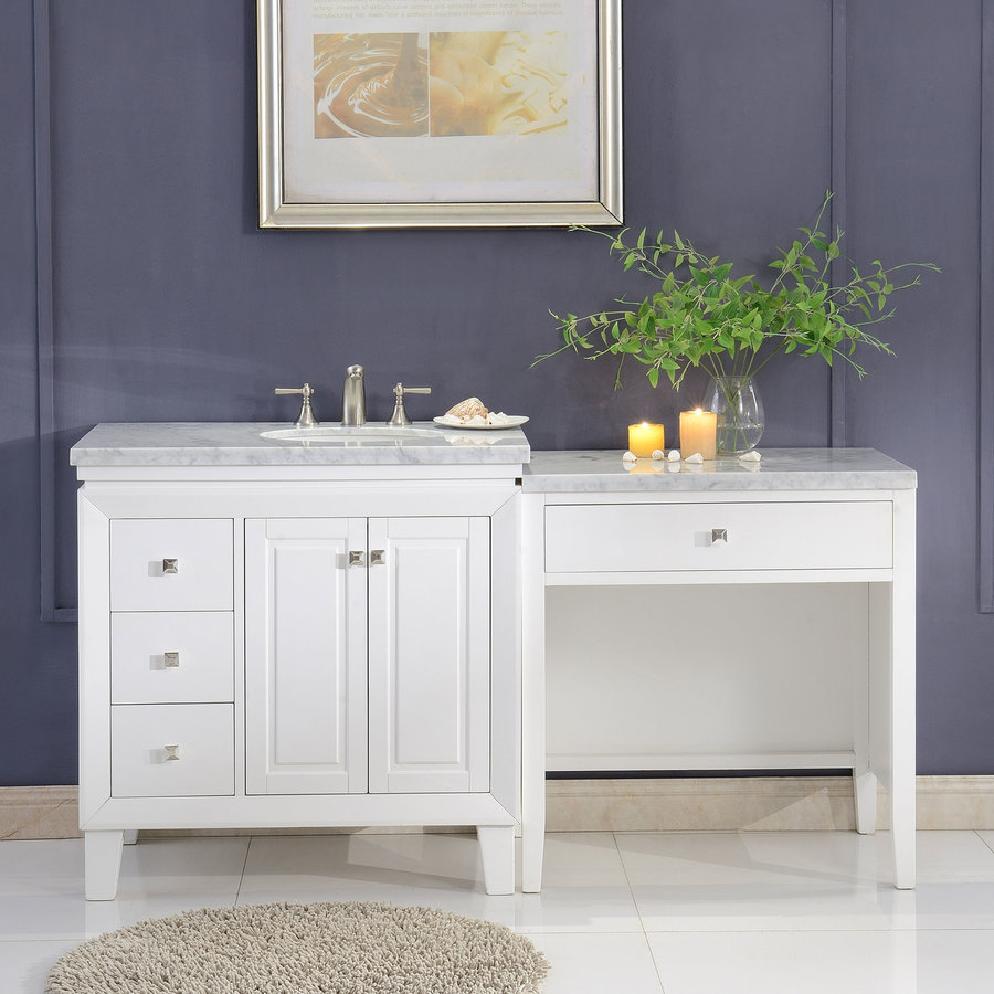 Silkroad Exclusive 67 In White Undermount Single Sink Bathroom Vanity With Carrara White Natural Marble Top In The Bathroom Vanities With Tops Department At Lowes Com
