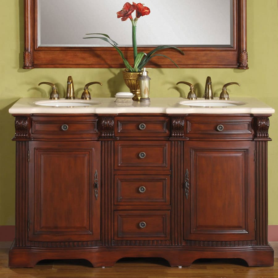 Silkroad Exclusive 58 In Brazilian Rosewood Double Sink Bathroom Vanity With Crema Marfil Natural Marble Top In The Bathroom Vanities With Tops Department At Lowes Com
