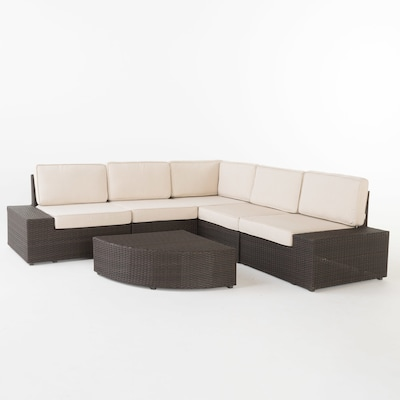 Santa Cruz 6 Piece Wicker Frame Patio Conversation Set With Cushions