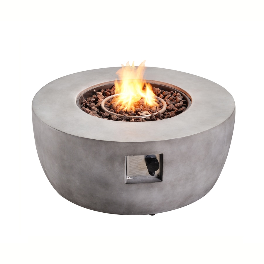 Teamson Propane Fire Pits 36 In W 50000 Btu Grey Tabletop Ceramic Propane Gas Fire Pit In The Gas Fire Pits Department At Lowes Com
