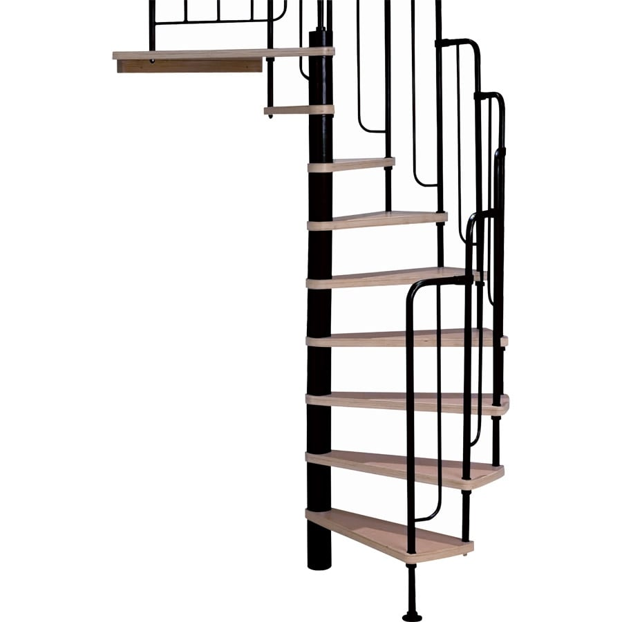 Attrayant DOLLE Barcelona 55 In X 9.5 Ft Black With Wood Treads Spiral Staircase Kit