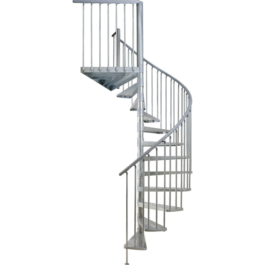 DOLLE Toronto 61-in x 9-ft Galvanized Grey Spiral Staircase Kit