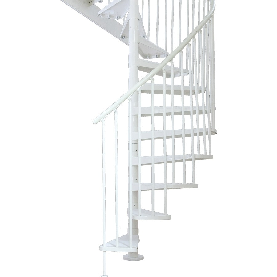 Shop dolle stockholm 61 in x 11 ft powder coat white spiral staircase