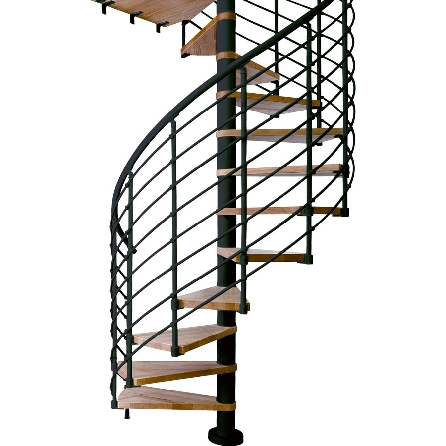 DOLLE Oslo 47 In X 10 Ft Black With Wood Treads Spiral Staircase Kit
