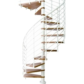 DOLLE Oslo 55 In X 11.5 Ft White With Wood Treads Spiral Staircase Kit