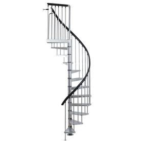 DOLLE Toronto 61 In X 9.25 Ft Gray Galvanized Steel Spiral Staircase Kit