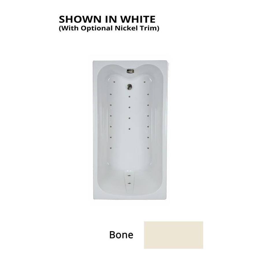 Watertech Whirlpool Baths Ultra 59.75-in Bone Acrylic Drop-In Air Bath with Reversible Drain