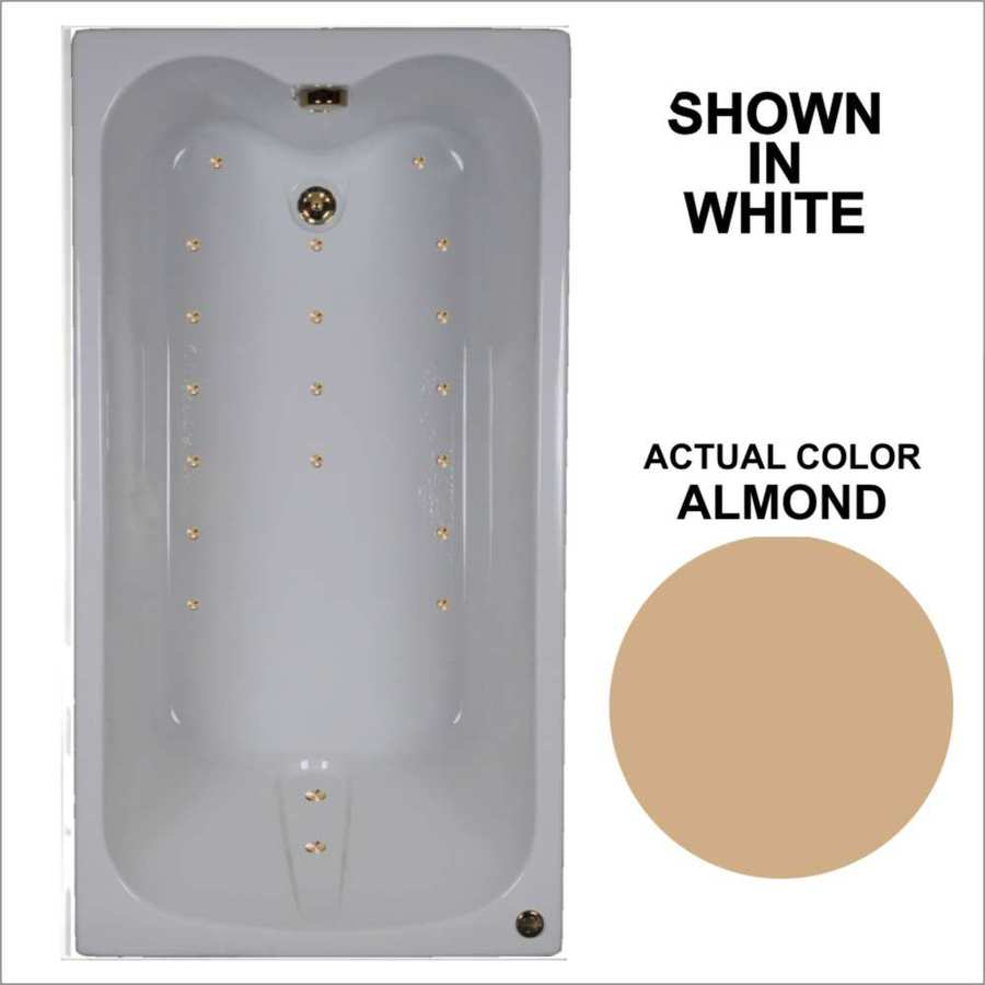 Watertech Whirlpool Baths Ultra 59.75-in Almond Acrylic Drop-In Air Bath with Reversible Drain