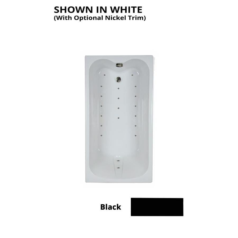 Watertech Whirlpool Baths Ultra 59.75-in Black Acrylic Drop-In Air Bath with Reversible Drain