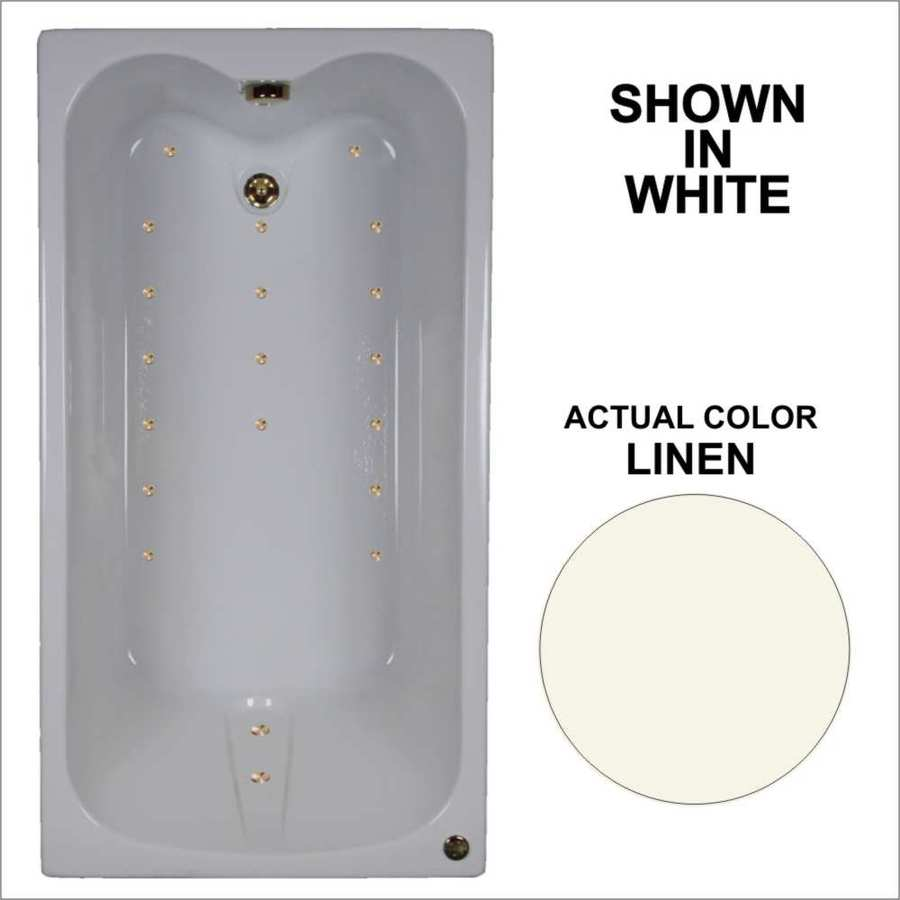 Watertech Whirlpool Baths Ultra 59.75-in Linen Acrylic Drop-In Air Bath with Reversible Drain