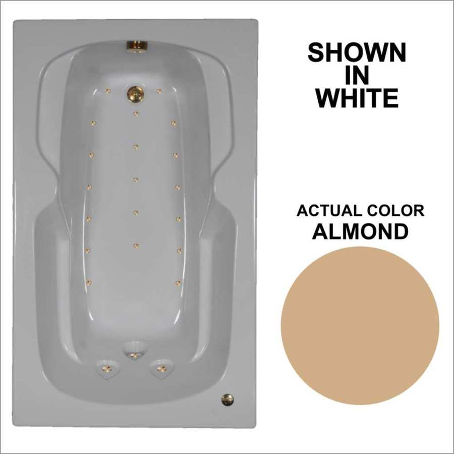 Watertech Whirlpool Baths 59.5-in Almond Acrylic Drop-In Air Bath with Reversible Drain
