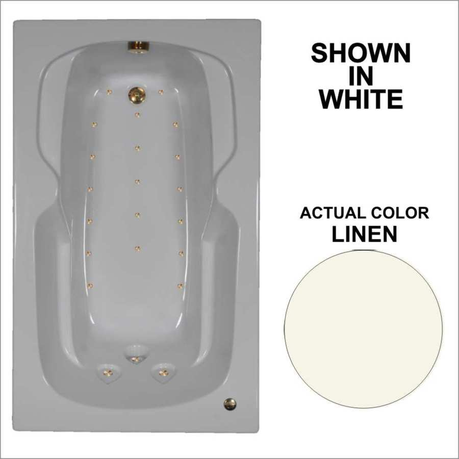 Watertech Whirlpool Baths 59.5-in Linen Acrylic Drop-In Air Bath with Reversible Drain