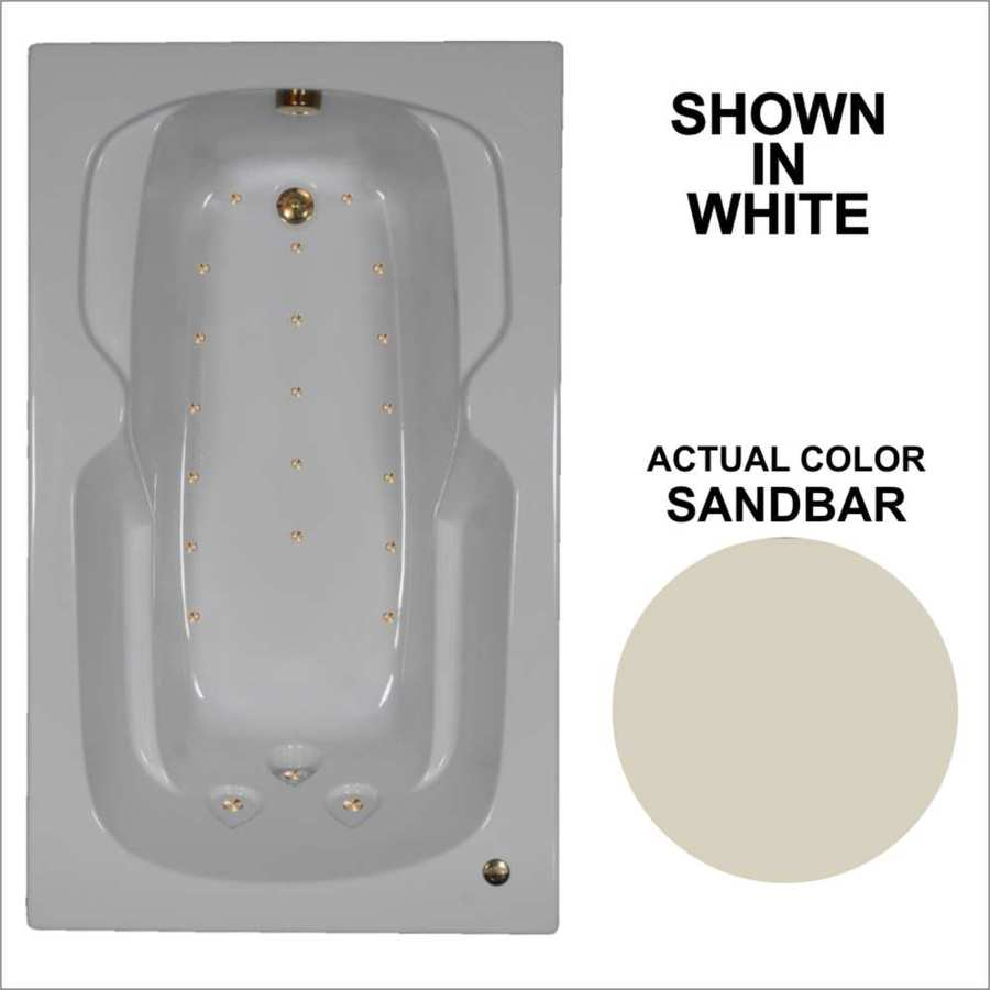 Watertech Whirlpool Baths 59.5-in Sandbar Acrylic Drop-In Air Bath with Reversible Drain