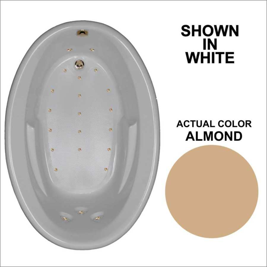 Watertech Whirlpool Baths 59.625-in Almond Acrylic Drop-In Air Bath with Reversible Drain
