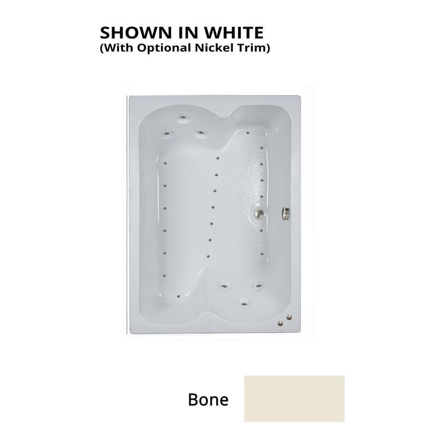Watertech Whirlpool Baths 59.75-in L x 42.75-in W x 24.25-in H Bone Acrylic 2-Person Rectangular Drop-in Air Bath