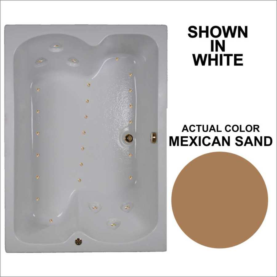 Watertech Whirlpool Baths 59.75-in Mexican Sand Acrylic Drop-In Air Bath with Reversible Drain