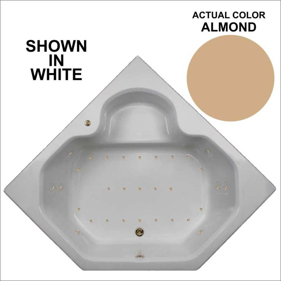 Watertech Whirlpool Baths 59.5-in Almond Acrylic Drop-In Air Bath with Front Center Drain