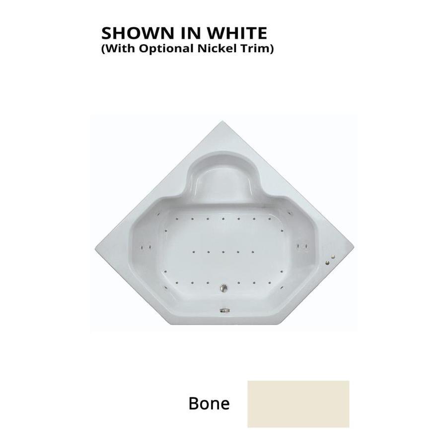 Watertech Whirlpool Baths 59.5-in L x 59.5-in W x 21-in H Bone Acrylic 2-Person Corner Drop-in Air Bath