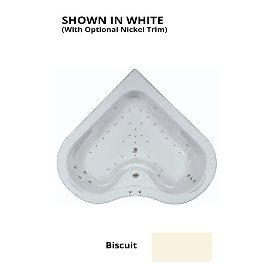 Watertech Whirlpool Baths 64.25-in L x 64.25-in W x 21.5-in H Biscuit Acrylic 2-Person Corner Drop-in Air Bath