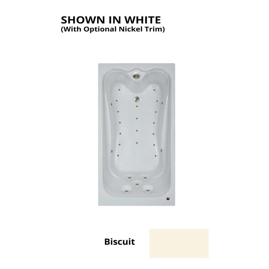 Watertech Whirlpool Baths Elite 71.25-in L x 35.375-in W x 22.5-in H Biscuit Acrylic Rectangular Drop-in Air Bath
