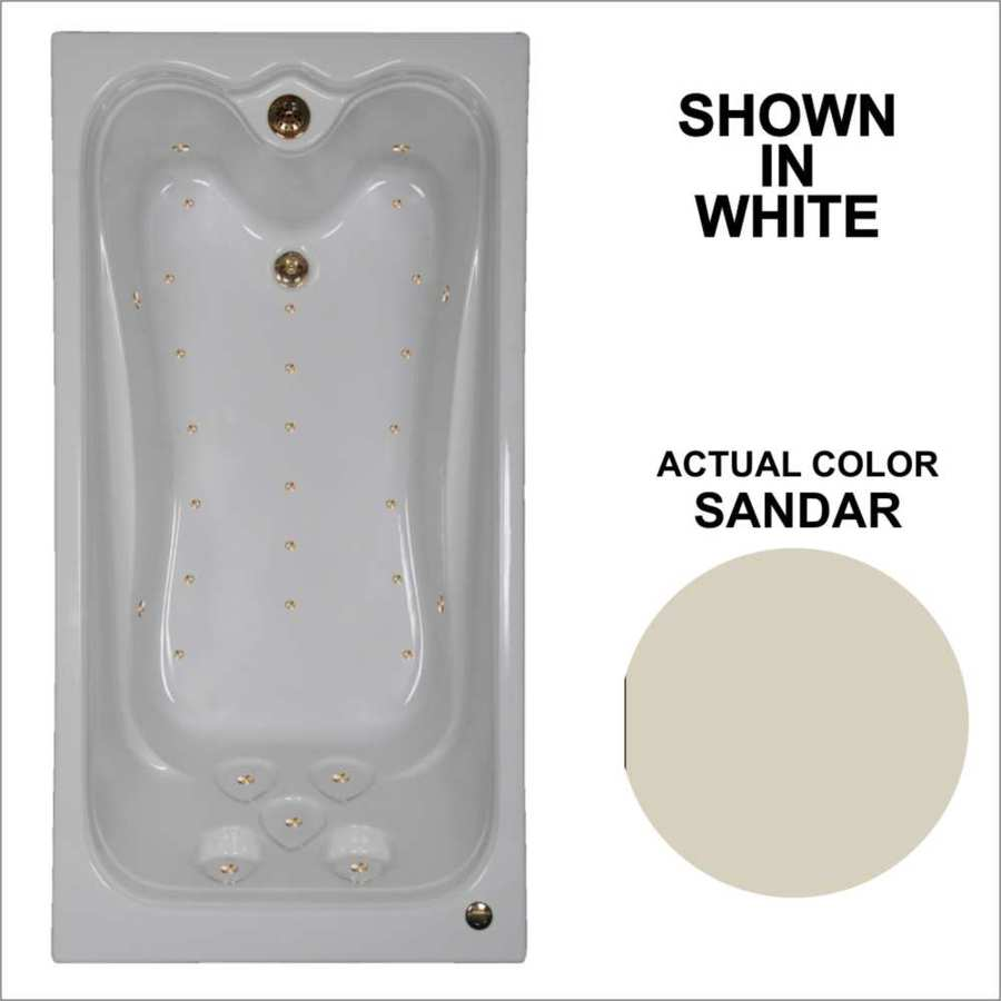 Watertech Whirlpool Baths Elite 71.25-in L x 35.375-in W x 22.5-in H Sandbar Acrylic Rectangular Drop-in Air Bath