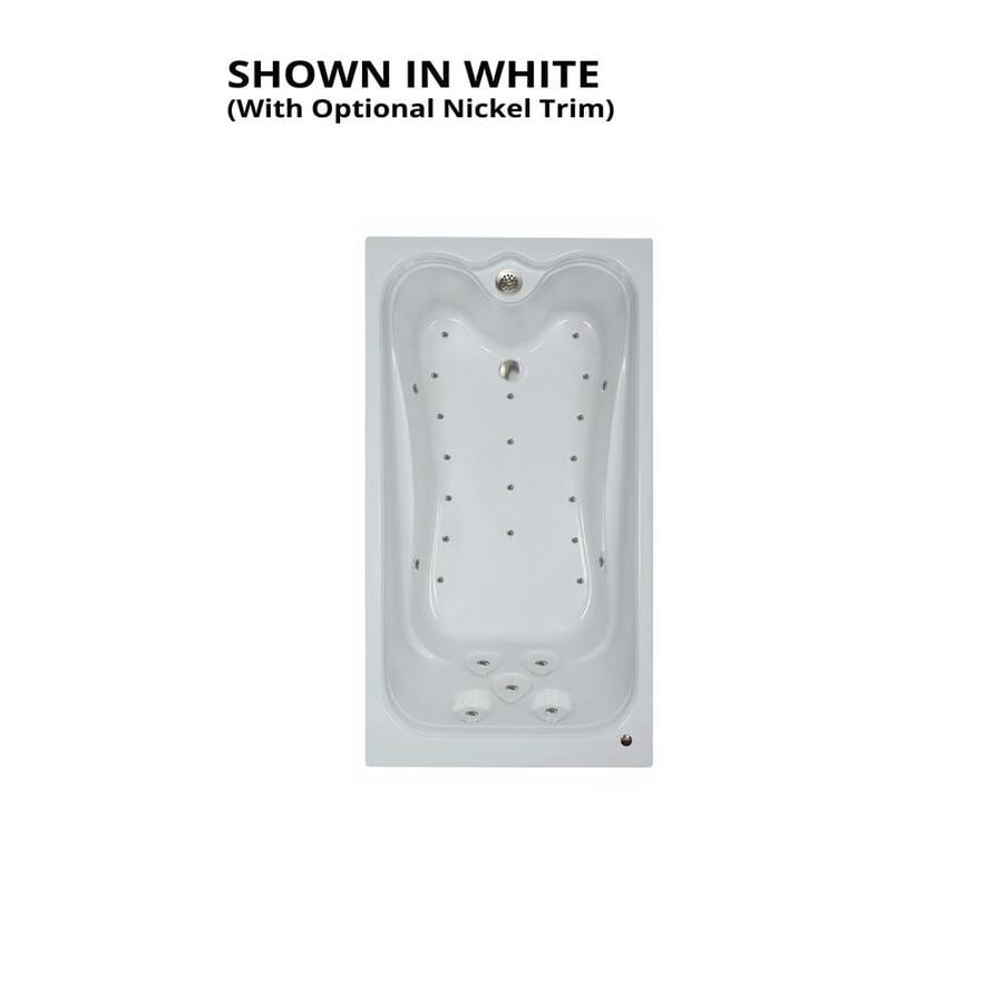 Watertech Whirlpool Baths Elite 71.25-in L x 35.375-in W x 22.5-in H White Acrylic Rectangular Drop-in Air Bath