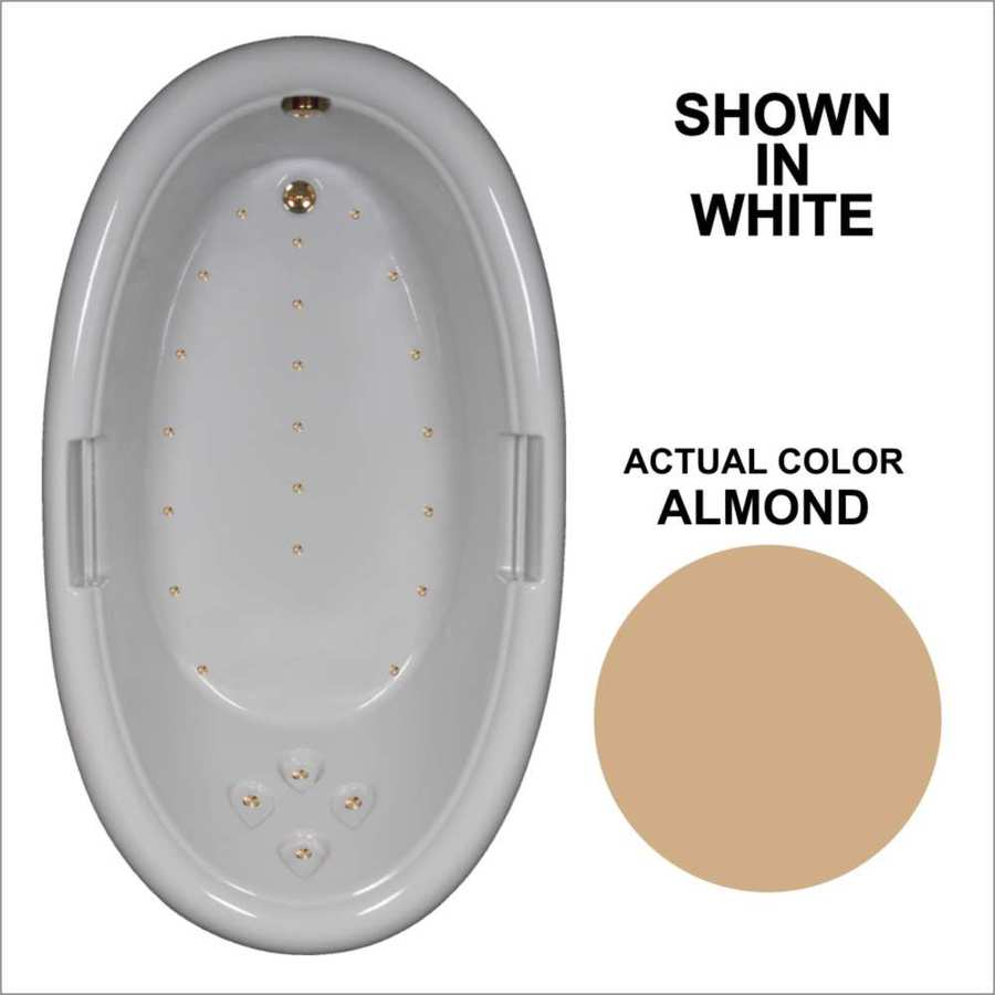 Watertech Whirlpool Baths 71.25-in L x 40.5-in W x 22.25-in H Almond Acrylic Oval Drop-in Air Bath