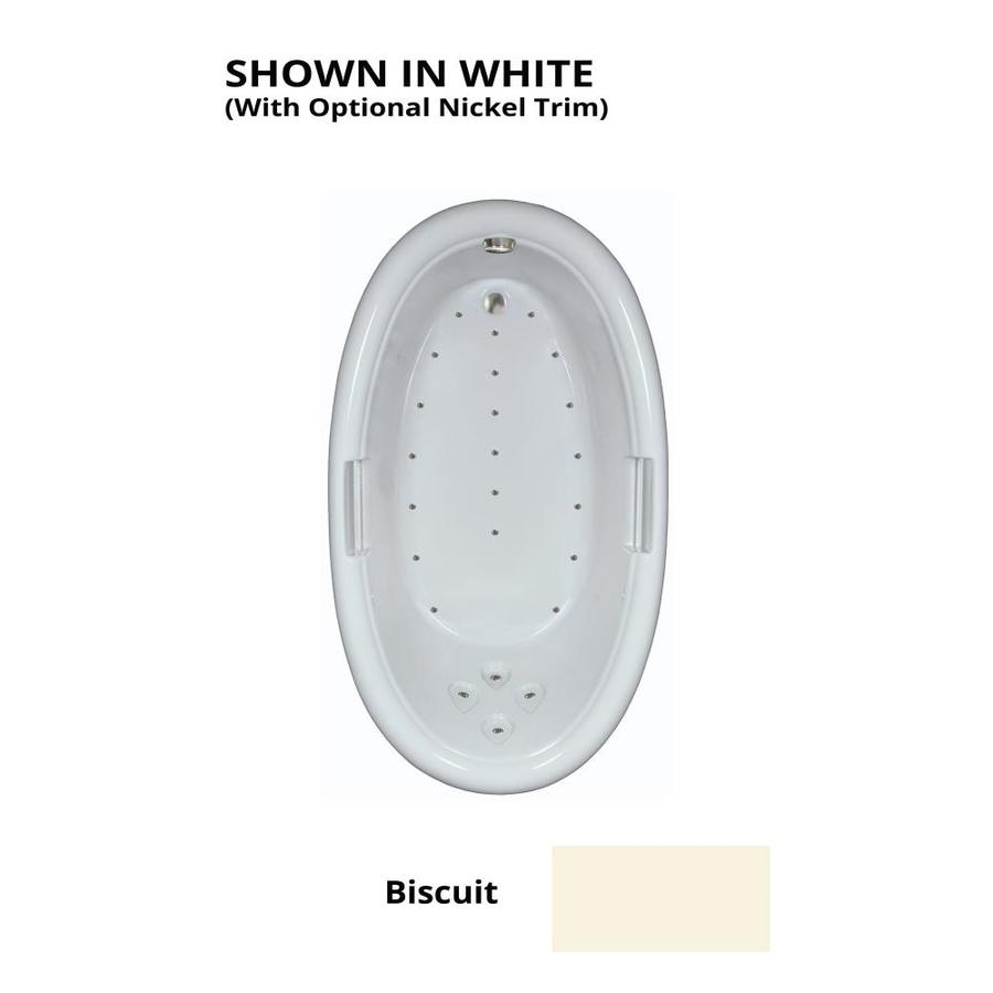 Watertech Whirlpool Baths 71.25-in Biscuit Acrylic Drop-In Air Bath with Reversible Drain