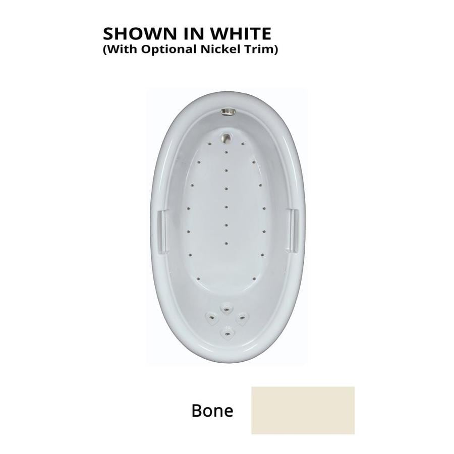 Watertech Whirlpool Baths 71.25-in Bone Acrylic Drop-In Air Bath with Reversible Drain