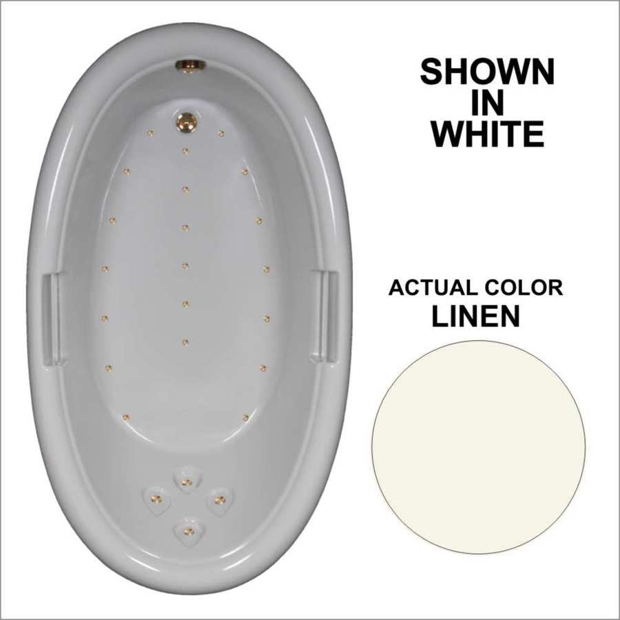 Watertech Whirlpool Baths 71.25-in Linen Acrylic Drop-In Air Bath with Reversible Drain