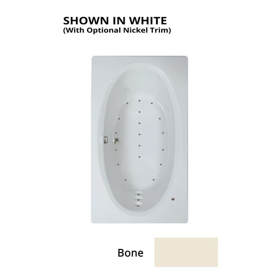 Watertech Whirlpool Baths 71.625-in L x 41.75-in W x 21.75-in H Bone Acrylic Oval In Rectangle Drop-in Air Bath