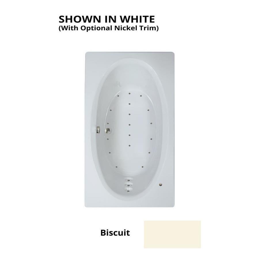 Watertech Whirlpool Baths 71.625-in Biscuit Acrylic Drop-In Air Bath with Reversible Drain