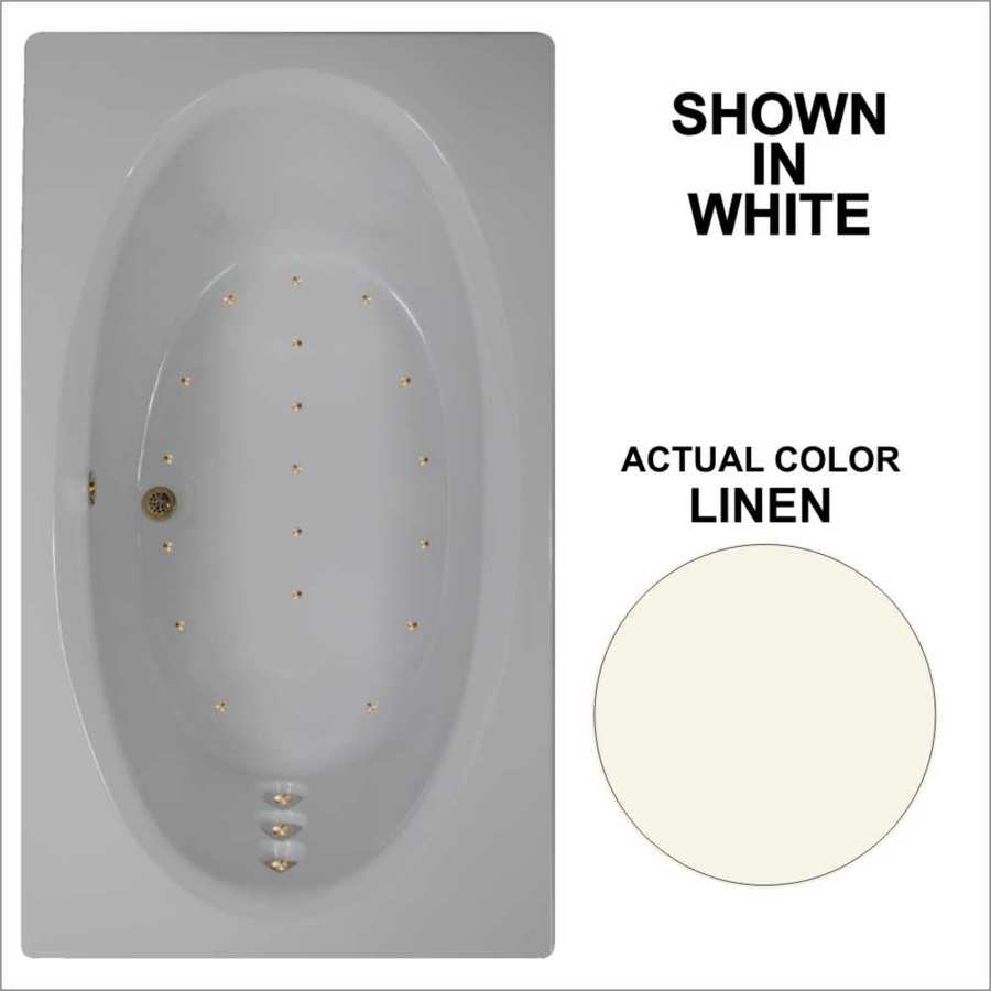 Watertech Whirlpool Baths 71.625-in L x 41.75-in W x 21.75-in H Linen Acrylic Oval In Rectangle Drop-in Air Bath